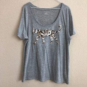 Lane Bryant Gray T-Shirt W/ Sequins Tiger